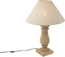 Lámpara de mesa rústica pantalla lino 50 beige -