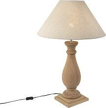 Lámpara de mesa rústica pantalla lino 55 beige -