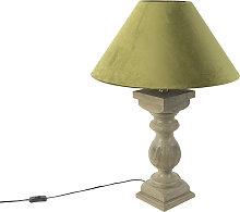 Lámpara de mesa rústica pantalla terciopelo