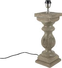 Lámpara de mesa rústica sin pantalla madera gris