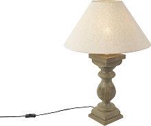 Lámpara de mesa rústico pantalla de lino beige