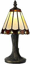 Lámpara de mesa Tiffany Calais 1 Bombilla Marrón
