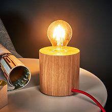 Lámpara de mesa Trongo, cilindro, cable rojo