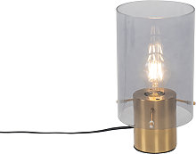 Lámpara de mesa vintage latón cristal ahumado -