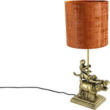 Lámpara de mesa vintage latón pantalla
