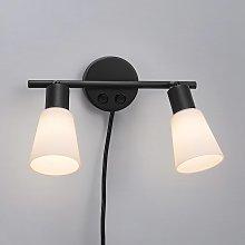Lámpara de pared Cole de vidrio y metal, 2 luces