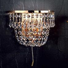 Lámpara de pared de cristal dorada SHERATA