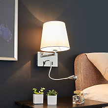 Lámpara de pared Leonella con luz de lectura LED