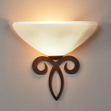 Lámpara de pared Luca de cristal rústica, blanca