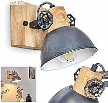 Lámpara de pared Orny de madera y metal gris