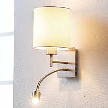 Lámpara de pared textil Camilo con luz de lectura