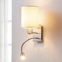Lámpara de pared textil Shajan, luz de lectura LED