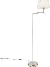 Lámpara de pie clásica acero pantalla blanca