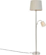 Lámpara de pie clásica acero pantalla gris flexo