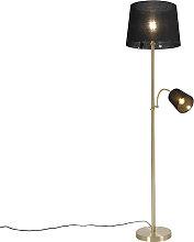 Lámpara de pie clásica dorada con pantalla de