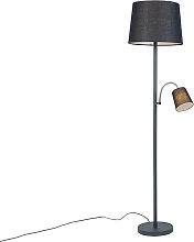 Lámpara de pie clásica negra pantalla negra