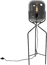 Lámpara de pie de diseño negra cristal ahumado -