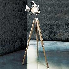 Lámpara de pie de madera Evy con foco en cromo