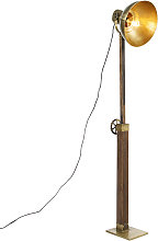 Lámpara de pie industrial bronce madera - MANGOES