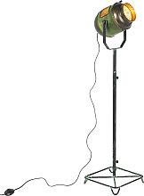 Lámpara de pie industrial bronce/verde 140cm -