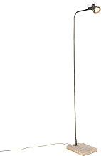 Lámpara de pie industrial negra con madera - Reena