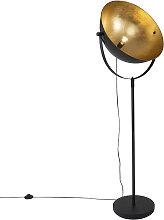Lámpara de pie industrial negra/oro orientable