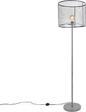 Lámpara de pie industrial redonda plata