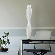 Lámpara de pie LED Flechtwerk Lava, 75cm, blanco
