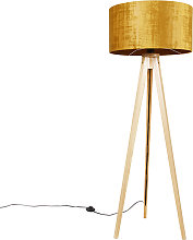 Lámpara de pie madera con pantalla de tela dorado