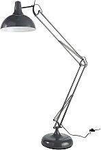 Lámpara de pie orientable de metal gris