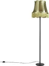 Lámpara de pie retro negra con pantalla Granny