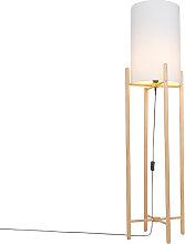 Lámpara de pie rústica madera pantalla blanca -