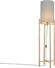 Lámpara de pie rústica madera pantalla gris -