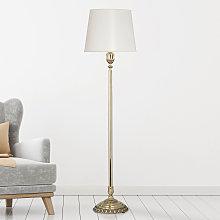 Lámpara de pie Tamesis, patinado oro tulipa blanca