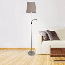 Lámpara de pie textil Lara, brazo de lectura LED