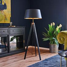 Lámpara de pie Thea de madera pantalla negro y oro