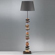 Lámpara de pie Vera tulipa tela decoración piedra