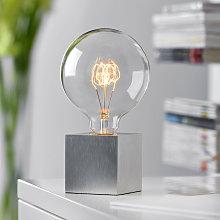 Lámpara de sobremesa cúbica, color aluminio