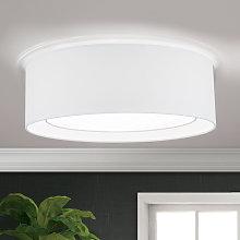 Lámpara de techo Antoni textil y redonda, blanco