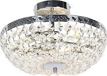 Lámpara de techo clásica cromada 3 luces cristal