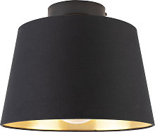 Lámpara de techo con pantalla de algodón negro