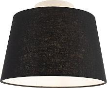 Lámpara de techo con pantalla de lino negro 25 cm