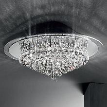 Lámpara de techo cromada CAROL colgante de cristal