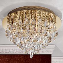 Lámpara de techo de cristal Helene dorada, 45 cm