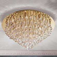 Lámpara de techo de cristal Helene dorada, 75 cm