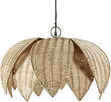 Lámpara de techo de flor de fibra vegetal trenzada
