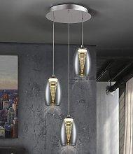 Lámpara de techo LED 3 luces cromo NEBULA