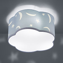 Lámpara de techo Moony infantil azul pastel