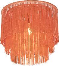 Lámpara de techo oriental oro pantalla coral