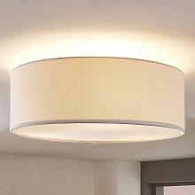 Lámpara de techo tela Mariat pantalla lino redonda